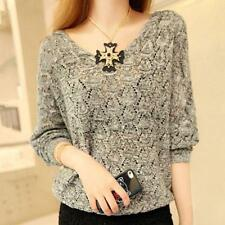 Plus size Women Sweater Kintted Long Sleeve V Neck Casual Pullover Jumper Tops G