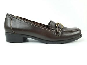 Naturalizer Womens Shoes Size 6W Brown Flats Leather Upper Loafer Cushioned
