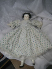 antique china doll with cloth body bloomers petticoat and dress