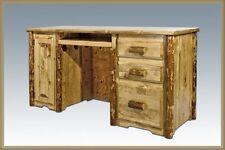 Log Computer Desks Solid Pine Office Desk Amish Made Rustic Log Furniture Cabin