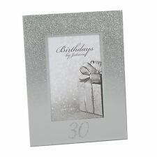 "Silver Glitter Finish Mirror Frame 30th Birthdays by Juliana 4"" x 6"" Photo"