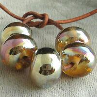 DFJ Lampwork 5 USA Handmade Silver Glass Spacer Beads~Gold Pink Aurora~Fumed SRA