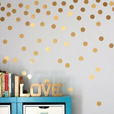 Home Living Room Bedroom Wall Sticker Gold Plated Round Dot Pattern Sticker MC