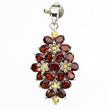 Sterling Silver 925 Genuine Natural Garnet & Yellow Sapphire Floral Pendant