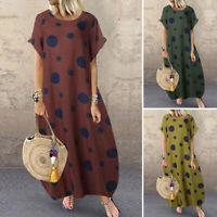 ZANZEA Women Casual Loose Short Sleeve Dress Polka Dot Baggy Midi Dresses Kaftan