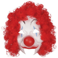 ADULT CIRCUS CLOWN COSTUME LATEX HALF MASK WITH RED HAIR