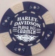 PLAYA DEL CARMEN, MEXICO HARLEY DAVIDSON POKER CHIP (BLUE & WHITE)