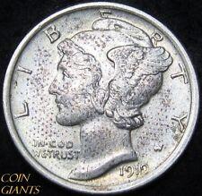 1919-P Winged Head Liberty Mercury Dime FB FSB 10c UNC BU Toned Philadelphia