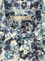Georg Roth Shirt Los Angeles Mens Long Sleeve Blue Button Front Shirt Size 2XL