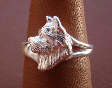 Sterling Silver Norwich Terrier Head Study Ring