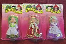 Lot of 3 Vintage Ja-Ru Doll Land World Collection Dolls New on Card -Price Redcd