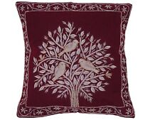 Burgundy Tree of Life Dabka Embroidery Pillow Cover Couch Sofa Throw Cushion 16""