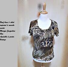 c650e136880 Neuf et authentique beau t-shirt imprimé kaki et noir marque Jacqueline Riu