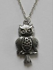 Chain Necklace #143 Pewter CUTE OWL (27mm x 15mm) Silver Tone Bird Animal Series