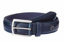 NEW NAUTICA MEN'S LEATHER DOUBLE STITCHED BELT NAVY NA 08-8909 11NU02X030 400