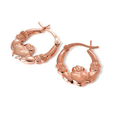 Rose Gold Plated 925 Sterling Silver Claddagh Creole Hoop Earrings Ireland