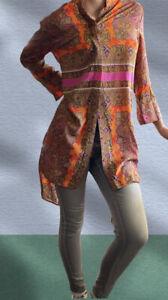 SCANLAN & THEODORE Vibrant Silk Button Front Shirt Dress Tunic Paisley Size 8 10