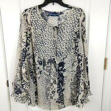 Susan Graver Womens Beige Black Floral Chiffon Long Sleeve Sheer Blouse Size L