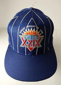 Vintage 1995 Superbowl XXlX 29 Blue White Striped Snapback Hat Cap Lite Ice NWOT