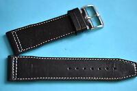 Remus Kalbsleder Uhrband von Kaufmann  24mm schwarz, weiße Naht Made in Germany