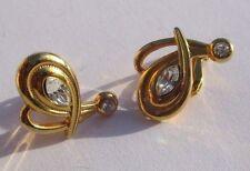 boucles d'oreilles percées clou couleur or perle cristaux diamant 3233