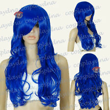 28 inch Ultra Series Hi Temp Dark Blue Curly wavy Long Cosplay DNA Wigs 78512