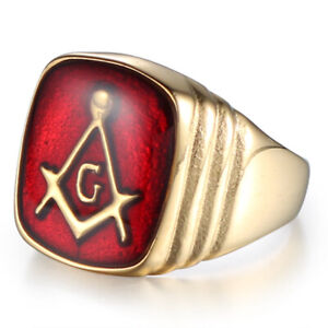 Men's Masonic Rings Stainless Steel Vintage Square Signet Red Enamel Ring Biker