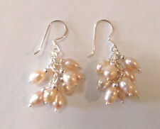 Sterling Silver And Pink Freshwater Pearl Cluster Earrings
