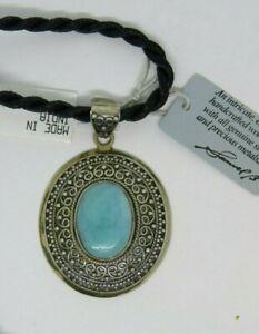 "Samuel B Benham BJC Sterling Silver 925 Larimar Pendant 16"" Corded Necklace"