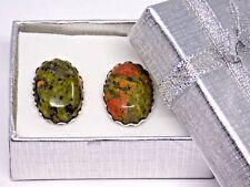 Handmade, Jasper Cufflinks Silver Scalloped Setting, Gift Boxed!