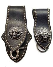 Biker Skull Trucker white Stitch black Leather Belt Clip Key chain Holder Set