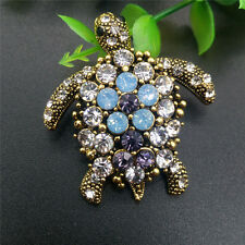 New Turtle brooch pin pendant fashion bling jewelry gold Blue gift for women mom