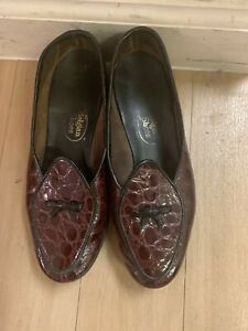 Belgian Travelette Loafer In Brown Croco Patent Calf  3 1/2 W Fits As U.S. 4 1/2