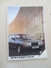 1980s Peugeot 604 automobile advertising booklet