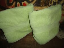 VINTAGE RALPH LAUREN GREENWICH BRIGHT GREEN (2) BATH TOWELS 28 X 50