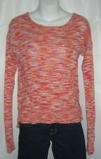 C & C California Sweater Striped Orange Pink Beach Boho Bohemian Cotton Boxy S