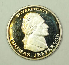 Thomas Jefferson Proof Round 1oz .999 Silver Liberty Lobby Toned