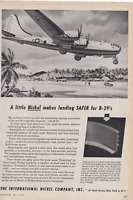 B-29 Superfortress  International Nickel   WWII VINTAGE AD