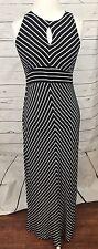 Ann Taylor Loft Small P Black & White Striped Maxi Dress Sleeveless Keyhole Back