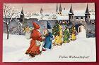 Vintage Santa Postcard ~ Row Of Santas in Different Robe Colors Enter Village