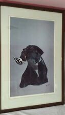 RON NASON PRINT Bk Labrador Retriever Dog w Bird in mouth signed & numbered