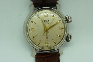 SUPER RARE HEUER ALARM DELUXE BUTTERFLY LUGS  STAINLESS STEEL  VINTAGE 1950s