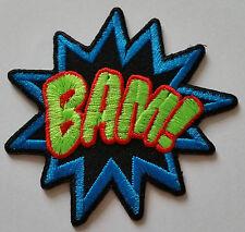 "NOVELTY CARTOON SUPERHERO ""ACTION BURST"" SEW ON / IRON ON PATCH:- BAM!"