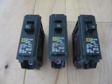 Lot Of Three Square D 20 Amp 1 Pole Standard Trip Circuit Breaker Homeline