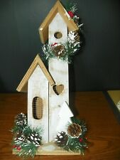 "Indoor Decorative Birdhouse Home Decor 18"" Tall Wood Wooden Christmas Pine Cones"