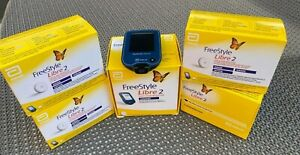 4 x Freestyle libre 2 Sensor MHD 01/2022 Original NEU&OVP. + Lesegerät mg/dl