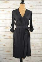 NWT H&M - Navy blue viscose short sleeve WRAP sheath dress, size 4
