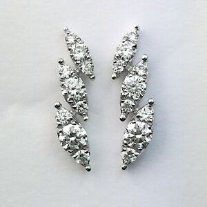 18K White Gold Natural Round Diamond Marquise Shaped Stud Earrings 0.30 Ctw