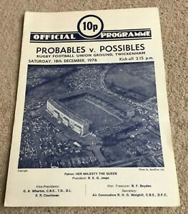 1976 Programme Probables v Possibles, Twickenham Rugby Union