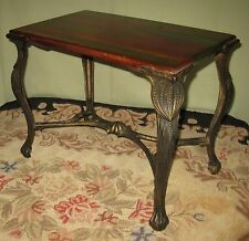ANTIQUE DECORATIVE WROUGHT IRON BENCH/TABLE w/HAND GRAINED WOODEN TOP